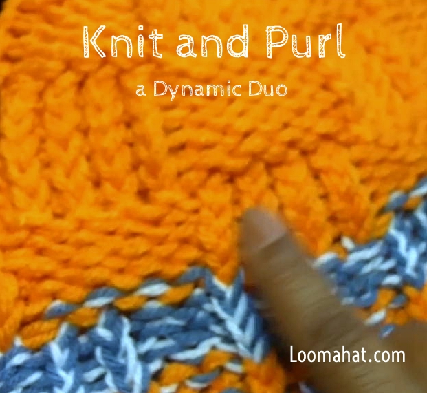 Knit and Purl Stitch - Text Picture and Video Tutorial - LoomaHat.com