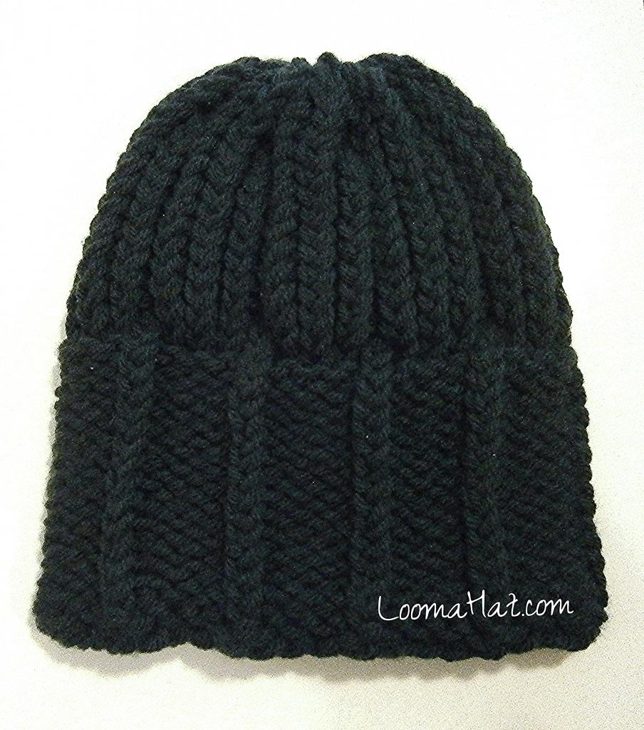 Mens Knit Hat on a Round Knitting Loom
