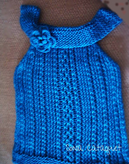 Loom-Knit-Sleeveless-Sweater-Blue - LoomaHat.com