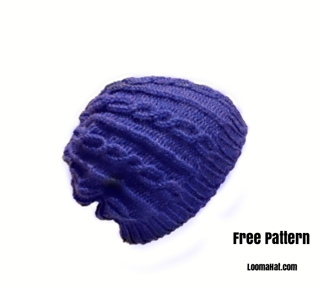 Loom Knit Hat Patterns Free : Hat-Blue-Slouchy-60-rnds - LoomaHat.com