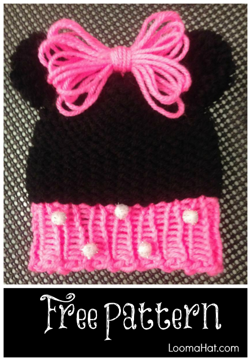 Loom Knit Minnie Mouse Hat