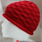 Diamond Brocade Beanie Hat on a Round Loom
