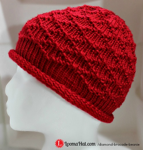 Knitting Loom Hat Stitches : Diamond Brocade Beanie Hat on a Round Loom - LoomaHat.com