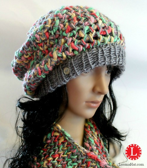 ... Slub Yarn Slouchy Hat   Cowl FREE Pattern for the Loom 2874fe01fa3