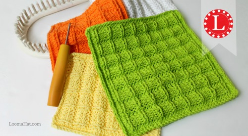 Waffle Stitch Washcloth / Dishcloth Pattern on the Loom