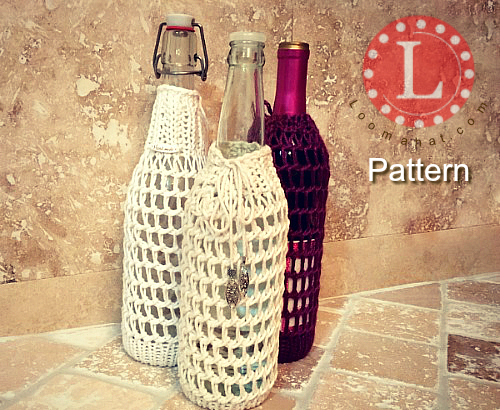 Wine Bottle Cover On A Round Knitting Loom Pattern Video